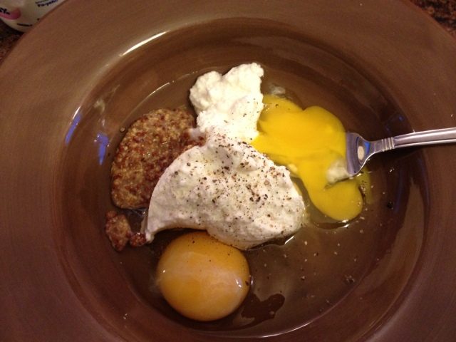 Eggs, Mustard, yogurt, salt and pepper