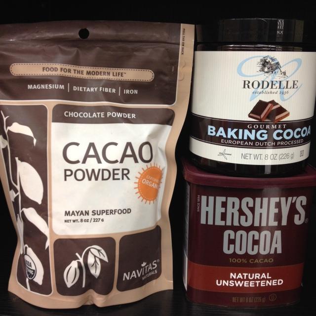 Cacao, Dutch Cocoa and Cocoa powder.