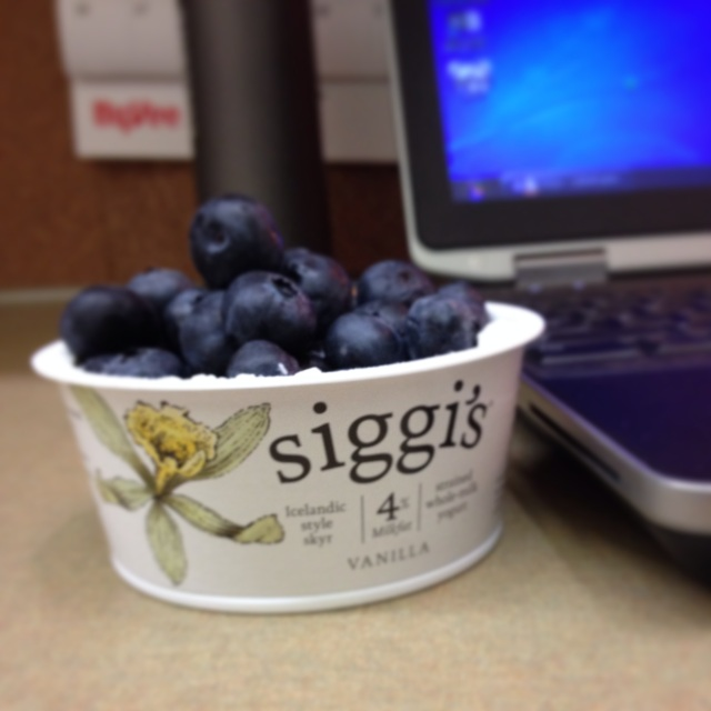 Siggi's whole-milk Vanilla yogurt with fresh blueberries